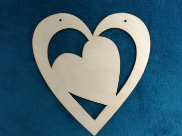 Wooden Hanging Heart in Heart - pack of 10